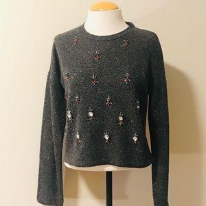 Zara Trafaluc grey sweater with beaded work.